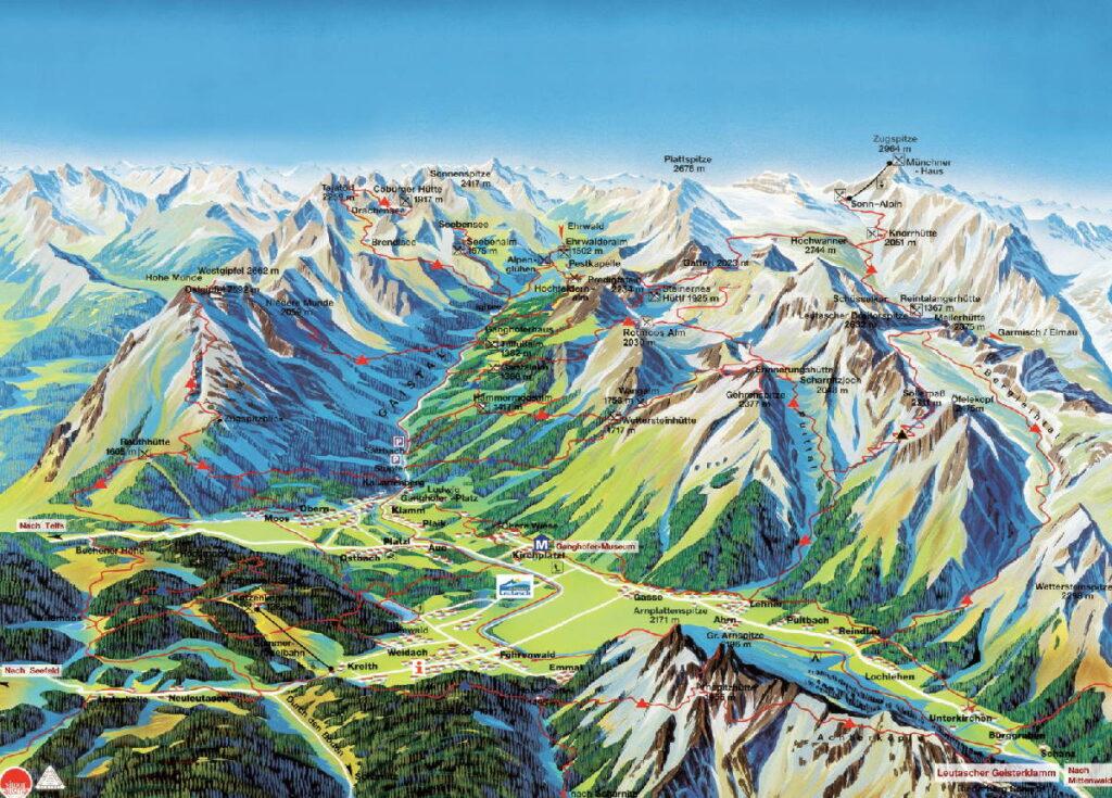 im Gaistal wandern - Panoramakarte Leutasch, Quelle: TVB Seefeld